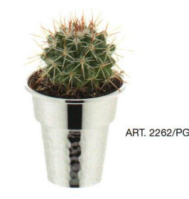 Vasetto argento con pianta grassa parte inferiore battuta