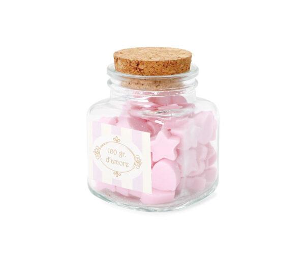 Barattolo quadrato sapone cuori stella rosa