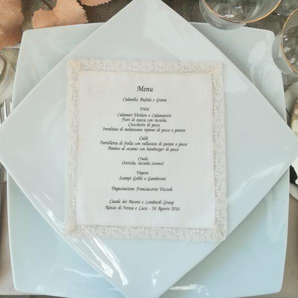 menu in tessuto con pizzo vallenciennes
