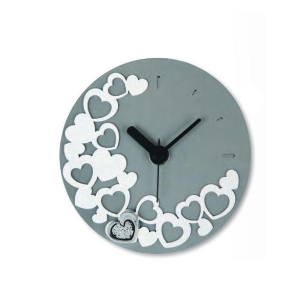 Orologio tondo grigio con cuori