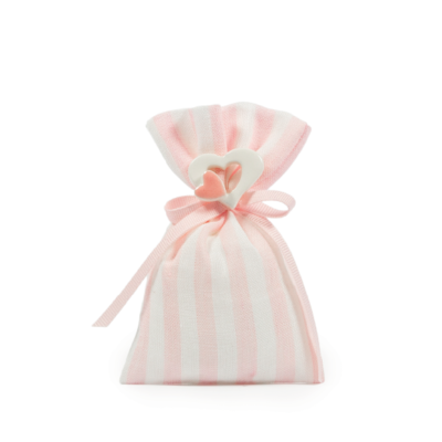 Sacchetto lino rigato H 12 cm, L 9 cm rosa
