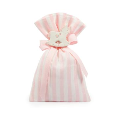 Sacchetto lino rigato H 17 cm, L 12 cm rosa