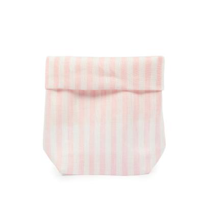 Sacchetto lino rigato confettata H 30 cm, L 14 cm rosa