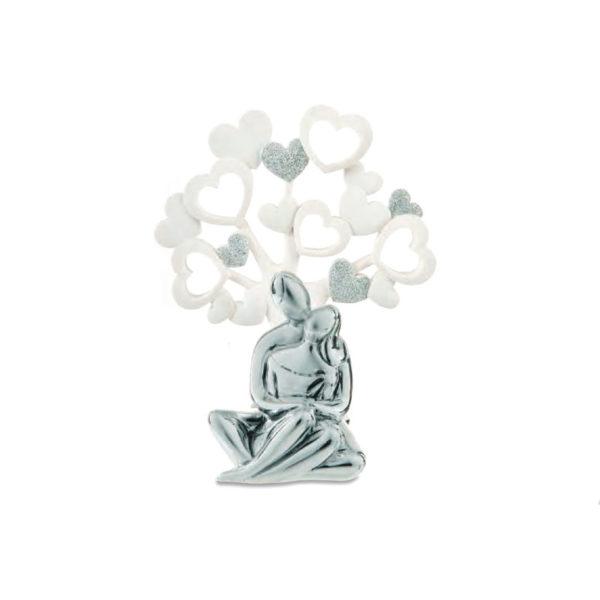 coppia sposi stilizzata seduta argento albero della vita