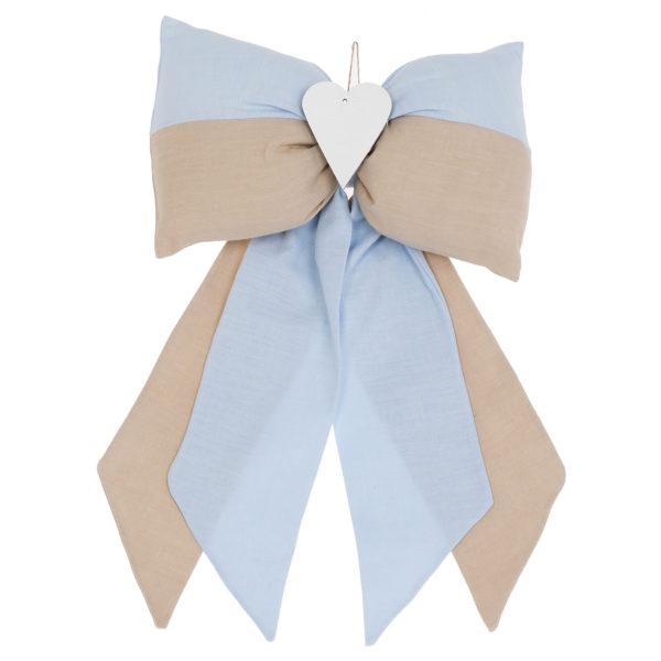 fiocco nascita righe beige azzurro
