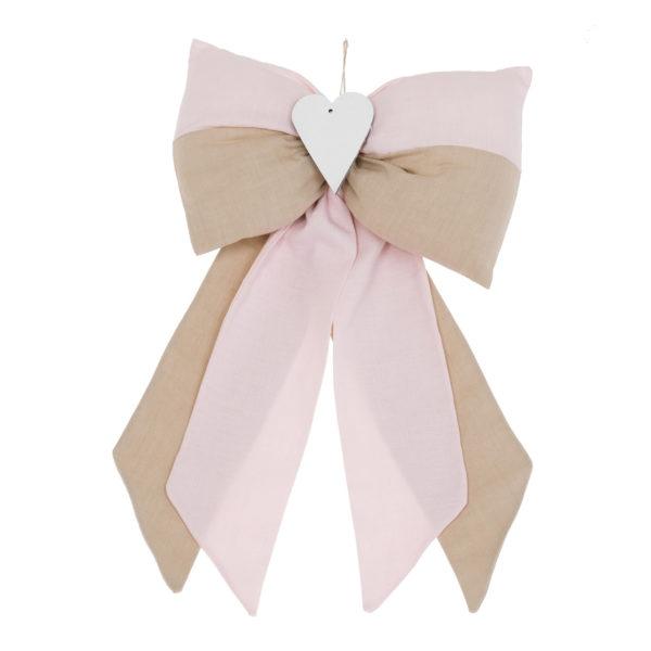 fiocco nascita righe beige rosa