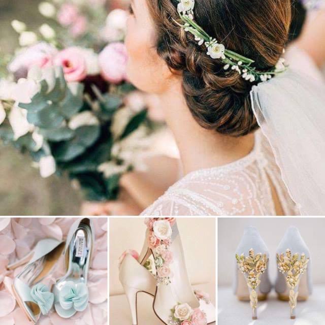 Abito e scarpe da sposa floreal style