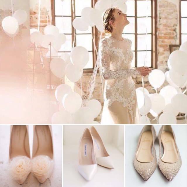 Abito e scarpe da sposa nude style