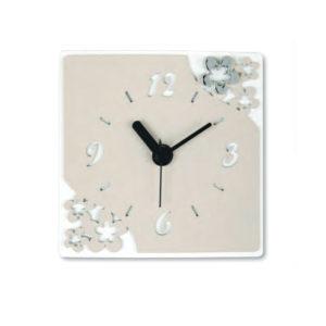 orologio quadrato con fiori nocciola