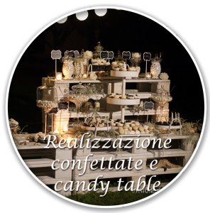 realizzazione confettate e candy table matrimonio