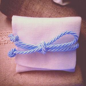 sacchetto lino bianco cordone azzurro