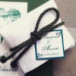 sacchetto lino bianco cordone verde