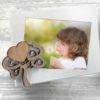 porta foto metallo con albero della vita in legno e strass