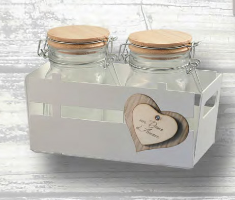 bomboniera portavasetti cuore con 2 vasetti