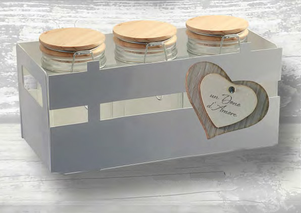 bomboniera portavasetti cuore con 3 vasetti