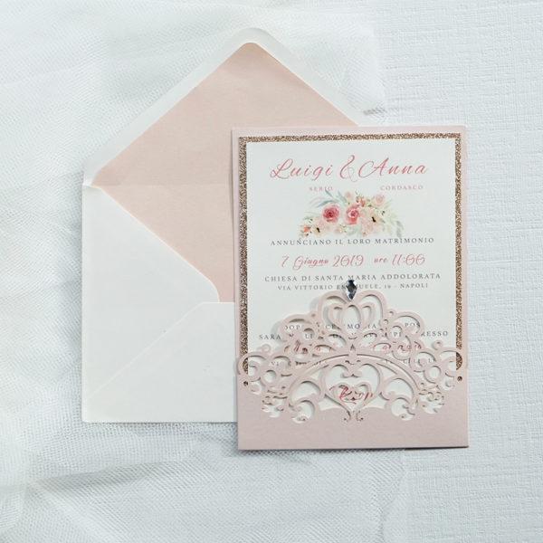 invito nozze lasercut marsupio corona