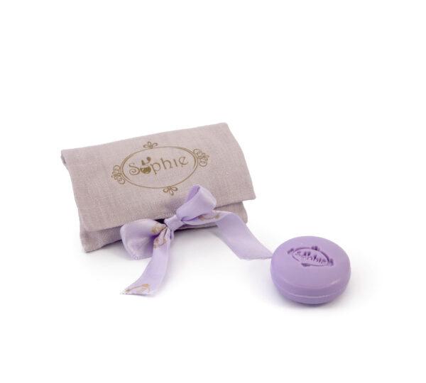 sacchetto lino 2 saponi lilla