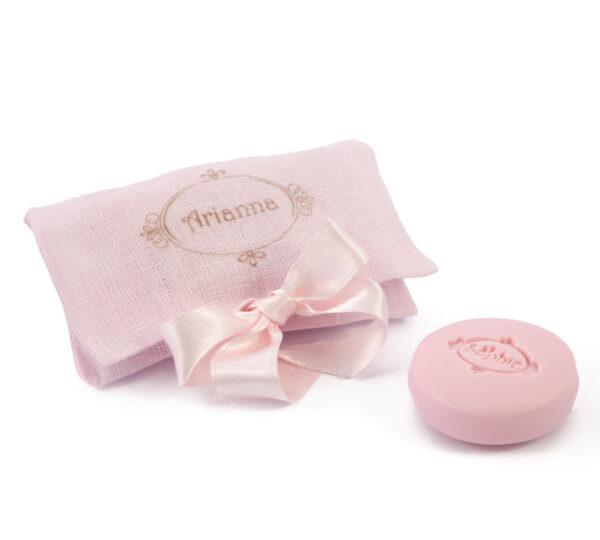 sacchetto a busta lino 2 saponi rosa macaron