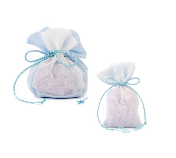 sacchetto lino saponi azzurro