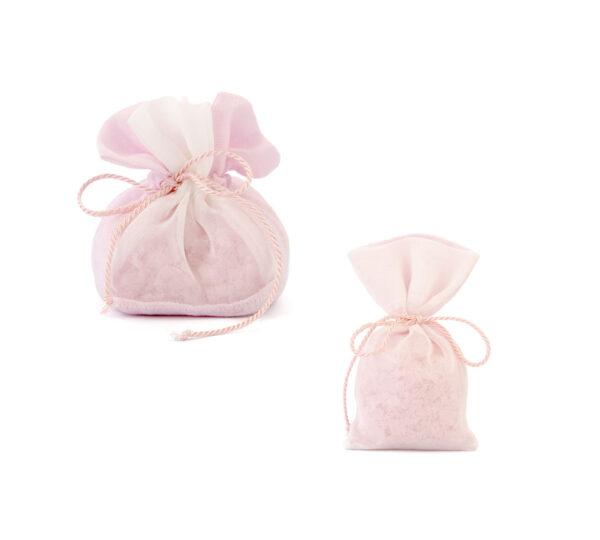 sacchetto lino saponi rosa