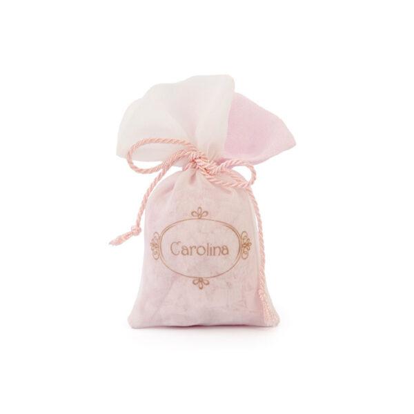 sacchetto lino saponi rosa personalizzato