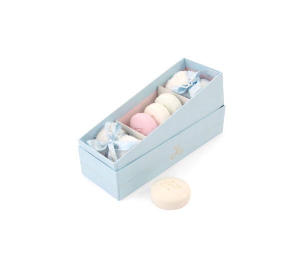 scatola 2 lavette 3 macaron azzurro