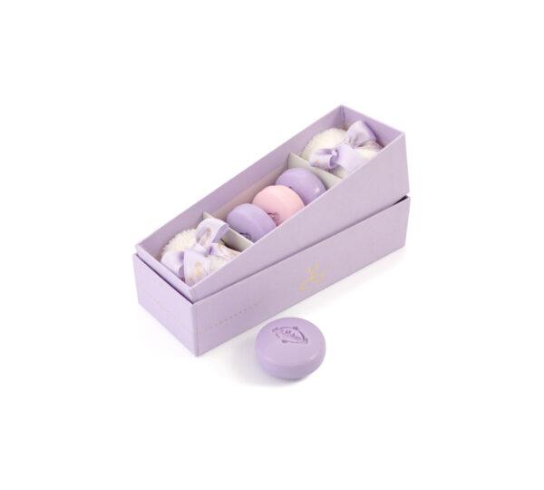 scatola 2 lavette 3 macaron lilla