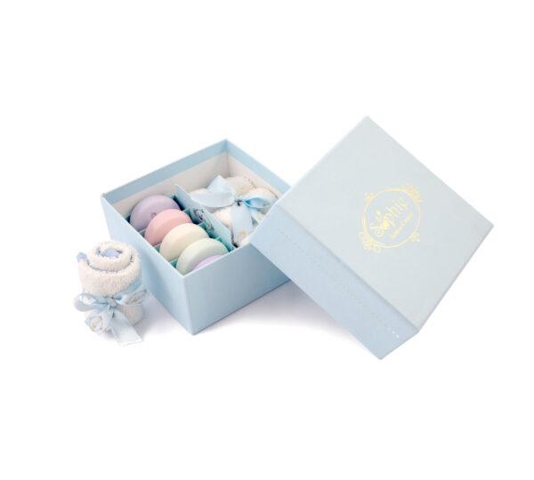 scatola 3 lavette 5 macaron azzurro
