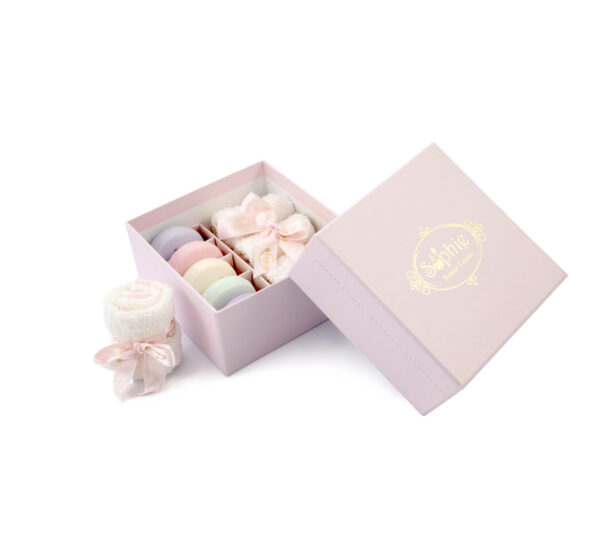 scatola 3 lavette 5 macaron rosa