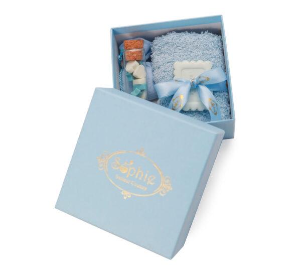 scatola lavette fiala sacchetto scaglie biscotto azzurro
