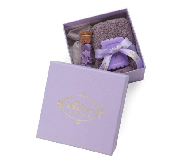 scatola lavette fiala sacchetto scaglie biscotto lilla
