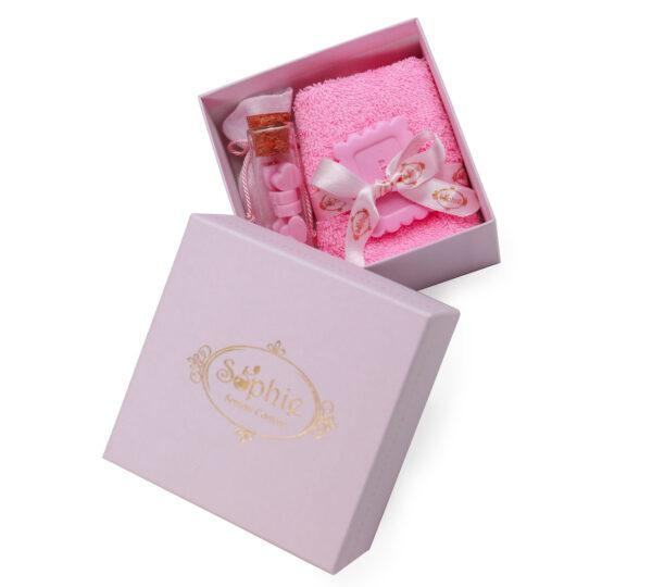 scatola lavette fiala sacchetto scaglie biscotto rosa