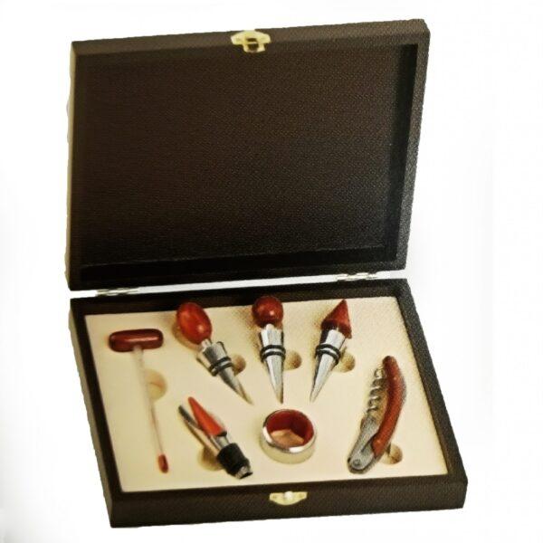 set legno vino sommelier 7 accessori